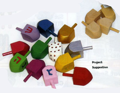 100 Small Wooden Dreidels for Decoration